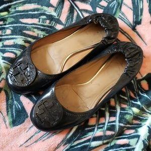 TORY BURCH Reva Black Flats Size 7